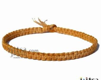 Golden Brown Flat Hemp Wide Surfer Style Choker Necklace