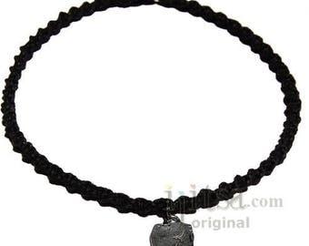 Licorice twisted hemp choker necklace with Sagittarius zodiac sign