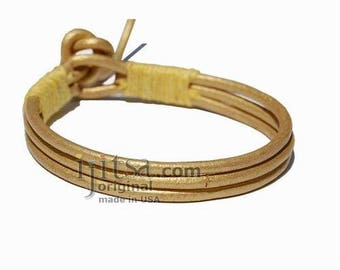3-Strand Gold Leather and yellow Hemp bracelet or anklet
