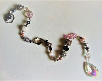 Suncatcher, Yard Art, PINK / GRAY /SILVER Vintage decor, Glass beads, Crystals, original, one of a kind, vintage beads