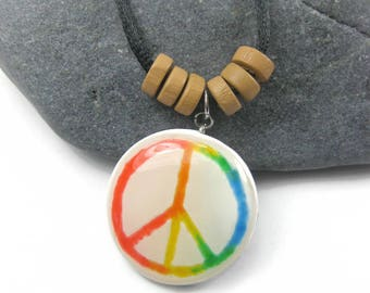 Rainbow Peace Sign Pendant Necklace, Gay Pride Peace Symbol