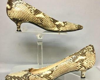 Stuart Weitzman Vintage 60's Style Kitten Heels, 1990's SnakeSkin Shoes, size 8.5 Medium