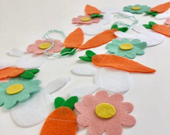 Bunnies, Flowers and Carrots // Easter // Spring // Felt Garland // Party Decor // Home Decor // Photo Prop