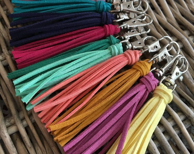 "Featured listing image: Tassel Purse Charm, Bag Tassel, Handbag Tassel Charm, Purse Zipper Pull - 3.5"" Mini Tassel on Clip, Gift Under 10 (ST110)"