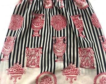 Vintage Strip Floral Ivory Skirt