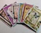 Vintage, Shabby Chic Set of 6 Notecards / Greeting Cards - Butterflies - FREE SHIPPING