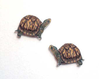 Handcrafted Plastic Eastern Box Turtle Earrings Made in USA