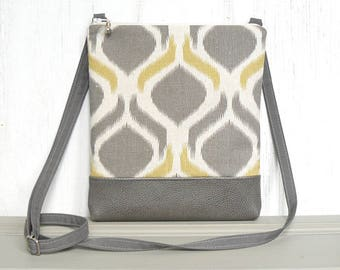 Cross Body Purse, Small Hip Bag, Zipper Crossbody Bag, Sling Purse - Fioretta in Yellow, Cream and Warm Gray