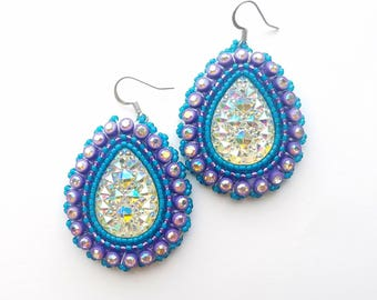 Purple & Teal Native American Beaded Earrings