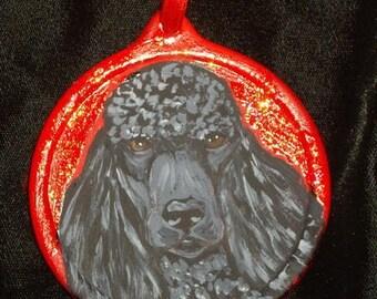 Black Poodle Dog Custom hand Painted Christmas Ornament Christmas Decoration Home decor