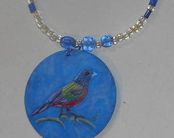 Painted Bunting Bird Beaded Necklace Hand Painted Pendant Jewelry
