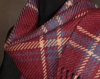 Handwoven merino wool winter scarf / plaid scarf / red gold purple