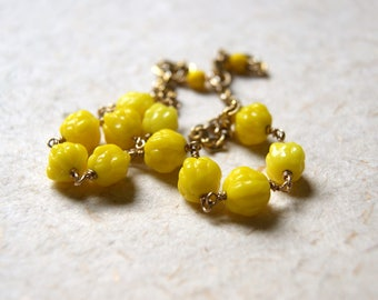Yellow Glass Necklace - vintage yellow glass beads wire wrapped with vintage chain - Free Gift Wrap
