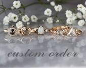 RESERVED CUSTOM LISTING Black Diamond Ring, 14k Rose Gold, Scroll Pattern Sterling Silver Band, Black Gem Ring, Oxidized Finish