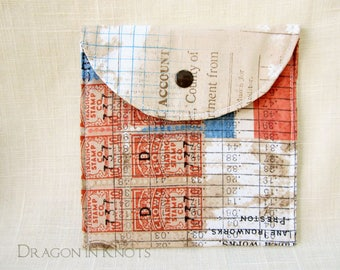 Union Jack Pouch - Passport Holder, Vintage Inspired Beige Blue Red, Accessory Pouch with Snap, Old Stamp Postage, Sanitary Napkin Keeper