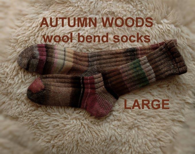 AUTUMN WOODS Socks --- washable wool acrylic blend --- LARGE