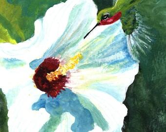 Hibiscus and hummingbird original painting 6 x 6