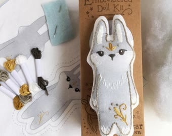 Grey Bunny DIY Hand Embroidered Doll sewing Kit Sampler art embroidery pattern designs
