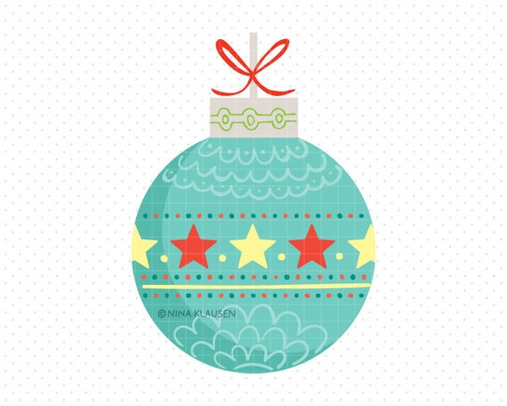Aqua Christmas Bauble Clip-Art / Star Christmas Ball Artwork / C0006