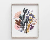 Botanical Print, Modern Art, Nature Watercolor, Scandinavian Print, Floral Painting, Mid Century Art, Nature Print, Botanical Illustration