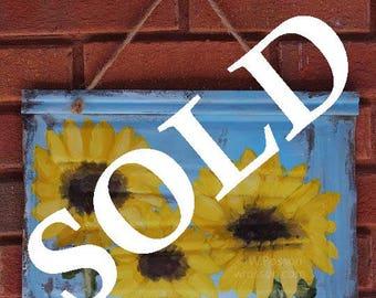 SOLD----------------Sunflowers, Sunflower Painting, Original Painting, Patio Decor, Home Decor, Wall Hanging, Wall Art, Winjimir, Art