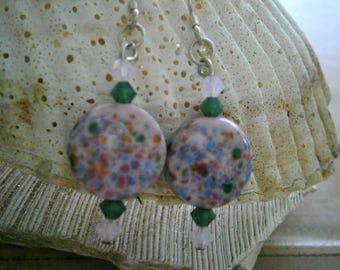 Glass Earrings in Rainbow Sprinkles, Lampworked Glass Earrings, Glass Jewelry, Willow Glass, OOAK