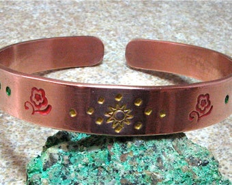 Hand Stamped Painted Copper Bangle Cuff Bracelet - Red Flowers, Golden Sunbursts, Turquoise Scroll - Handpainted Stacking Bracelet