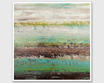 """Abstract PRINT of Painting """"Mocha Tundra"""" by Lisa Carney - Abstract Landscape Art, Giclee Print, Modern, Minimalist, Green, Turquoise, Brown"""