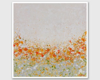 """Abstract PRINT of Painting """"Orange Petal Garden"""" by Lisa Carney - Large wall art, Giclee Print, Modern painting, White, Orange, Gray, Green"""