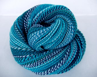 Handspun yarn, 18 micron merino, self striping yarn, merino yarn, worsted weight yarn, blue, teal, green, water, SCYLLA, 3.5oz, 195yds