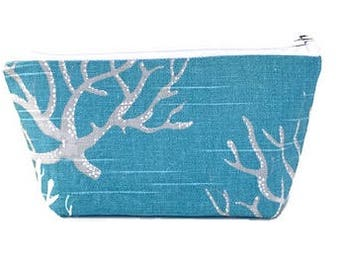 small makeup bag, coral, ocean blue,  cosmetic bag,  organizer pouch,  girlfriend gift,  zipper bag, zipper pouch,