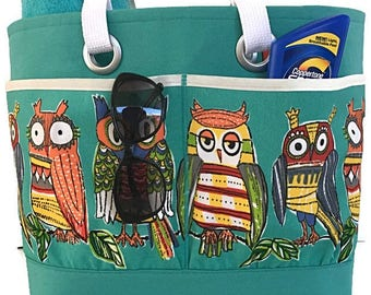 Owl lovers Beach bag, XL Beach tote bag, Beach bag with pockets, Large Waterproof lined beach bag, vacation bag, gift for her, deesdeezigns