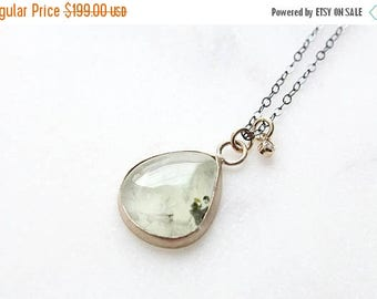 ON SALE 14k prehnite and diamond necklace, mixed metals necklace, eco friendly, charm necklace
