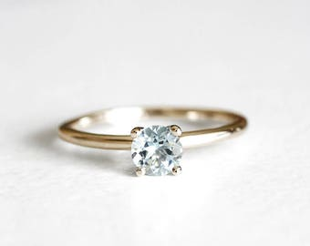14k gold aquamarine ring 5mm, march birthstone, handmade, eco friendly gold, alternative engagement ring, recycled wedding ring