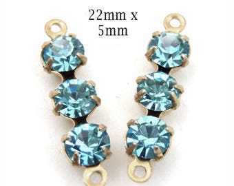 Aqua Rhinestone Connectors - or Choose Your Color - Glass Beads or Gems - 20mm Triples - Jewelry Supply - One Pair
