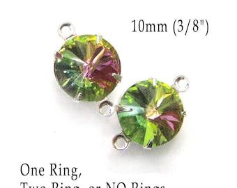 Green Rainbow  or Vitrail Glass Beads - 10mm Round  - Rivoli Rhinestone Gems - 45ss - Jewelry Supply - One Pair
