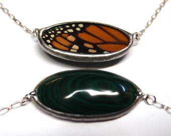 Malachite and Monarch Butterfly Necklace - Beautiful Stone and Real Butterfly Wing