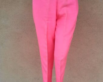 ON SALE Vintage 1960s Pants Cigarette 60s Slacks Hot Pink Silk US8 W27