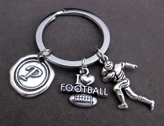 Personalized I Love Football Keychain,Football Keyring,Gift for Football Players,Football Gift,Athlete KeyChain,Coach gift,Free Shipping USA
