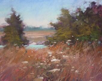 Autumn Marsh Fall Landscape with wildflowers Original Pastel Painting Karen Margulis