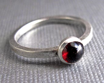 Birthstone Stacking Ring - Sterling Silver & Gemstone - One Ring