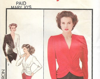 Style 1421 - Vintage 1980s-does-1940s TWIST FRONT Peplum TOP - Sewing Pattern - Size 10 - 32.5 Bust - Uncut