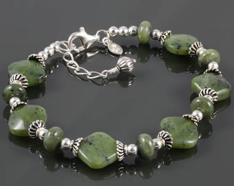Jade Bracelet. Sterling Silver. Genuine Gemstone. Adjustable Bracelet. Size Medium Large. Nephrite Jade. f17b001