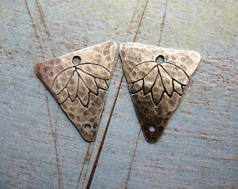 Hanging Lotus Stamped Hammered Sterling Silver Double Hole Triangle Charms - 1 Pair