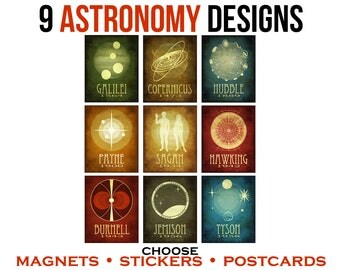 9 Astronomy Postcards or Stickers or Magnets. Space Stationary. Astronomer Magnets. Science Geek Gift. Star Gazer Present. Astrophysics Art