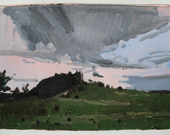 Lost Dog Hill, May 26, Original Spring Landscape Painting on Paper, Stooshinoff