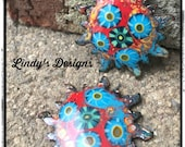 Red and Turquoise Starburst Torch Fired Enamel Charms