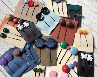 button bobbies, lot of button bobbies, assortment of 40 hair pins,bobby pins, vintage buttons,mix and match,destash lot, barrettes