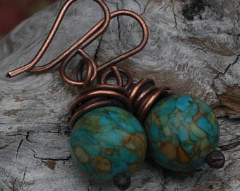 Turquoise Copper Earrings Copper Jewelry