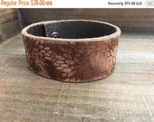 50% OFF- Embossed Leather Cuff-Create Your Own-Floral Bloom-Word Cuff